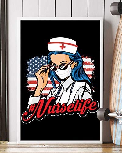 NUCOVASUTEE Póster de la vida de la enfermera de la bandera estadounidense (40,6 x 60,9 cm)