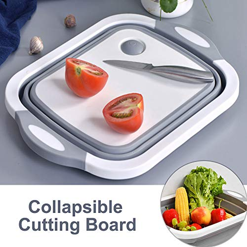 Oxdigi Collapsible Cutting Board/Washing Basin/Over-The-Sink Dish Drainer with Colander/Portable Basket with 15L Capacity for Veggie Fruit Ice Bucket Indoor and Outdoor