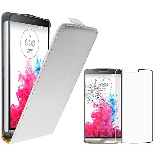 ebestStar - Funda Compatible con LG G3 D855 Carcasa Abatible PU Cuero, Ultra Slim Case Cover, Blanco + Cristal Templado Protector Pantalla [Aparato: 145.5 x 74.6 x 9.1mm, 5.5'']