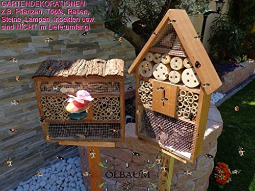 BTV 2 x Bienenhotels, viereckig/Quadrat + Hausform, Insektenhaus + Bienenhaus mit Bienentränke, insektenhotel, braun