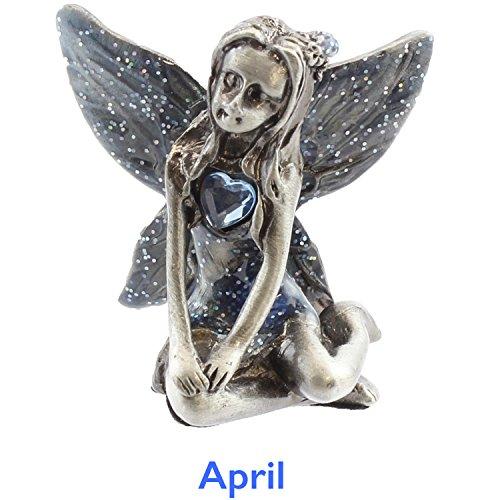 Viceni - Figura de Hada, de Peltre, con Piedra de Nacimiento de Abril, Colección de Cumpleaños