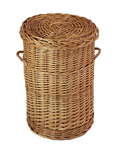 FRANK FLECHTWAREN Traditioneller runder Wäschekorb in braun
