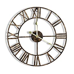 CIGERA 16 Inch Metal Wall Clock with 3D Roman Numerals, Silent Movement and Battery Operated, Great Wall Decor for Kitchen, Living Room and Farmhouse,Vintage Bronze