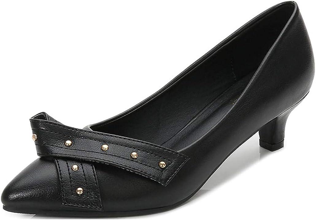 GCOCO Women's Finally popular brand Studded Low Kitten Popular product Ladies Slip-On Poin Pumps Heels