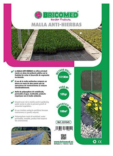 Bricomed  - Malla anti-hierba de 105 gr/m², 1 x 100 m , Negro
