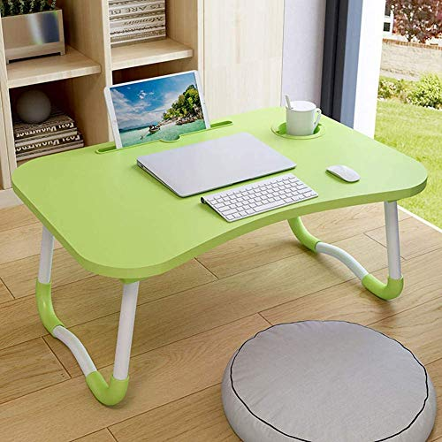 GROSSē Laptop Bed Table Lap Standing Desk for Bed and Sofa Breakfast Bed Tray Laptop Lap Desk Folding Coffee Tray Notebook Stand Reading Holder for Couch Floor Kids(60 x 40 cm) (Green)