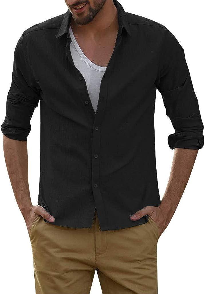MODOQO Men's Casual Regular Fit Collar Solid Long Sleeve Button Down Dress Shirt