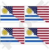 USA Vereinigte Staaten von Amerika und URUGUAY, Amerikanisch und Uruguayische Flagge, Fahne 50mm Auto & Motorrad Aufkleber, x4 Vinyl Stickers