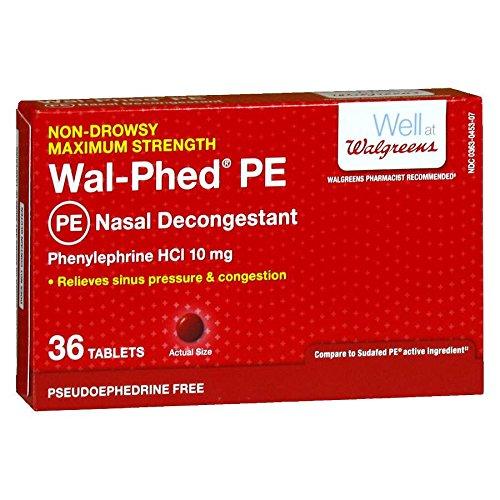 Walgreens Wal-Phed PE Nasal Decongestant Tablets, 36 ea