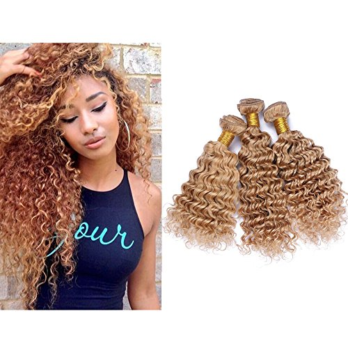 Mila 3 Bundles/Lot Echthaar Natural Tressen Lockig Extensions Honigblond 27# Brasilianisches Hair Weave Deep Wave Style 300gram (22