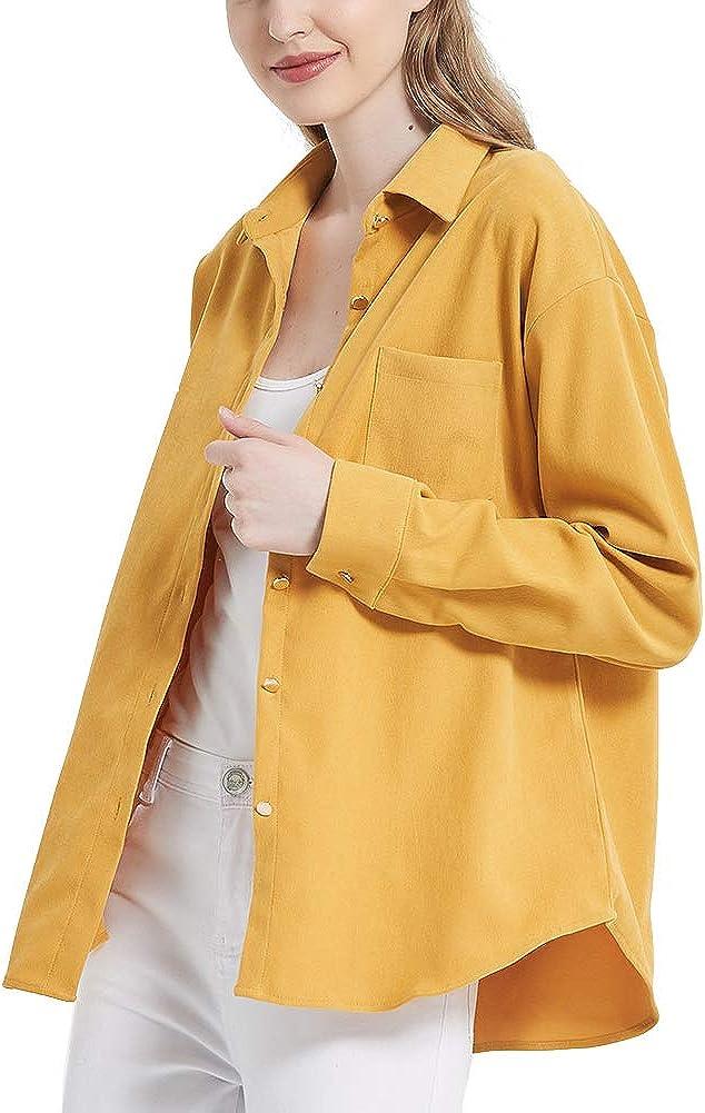 Women's Long Sleeve Button Welt Jacket Ladies Blouses Boyfriend Style Spring Autumn Tops