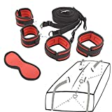 Strap Kit for Bed Couples Women Sex Play Bondage Restraints Set Adjustable Straps Fluffy Wrist Handcuffs Ankle Cuffs for for Couples Enjoy Pleasure-RED