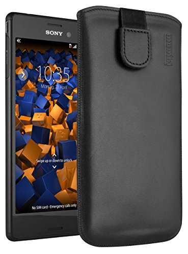 mumbi Echt Ledertasche kompatibel mit Sony Xperia M4 Aqua Hülle Leder Tasche Case Wallet, schwarz