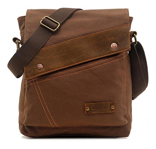 Vere Gloria Men Women Small Canvas Messenger Bag Crossbody, Brown, Size suitable