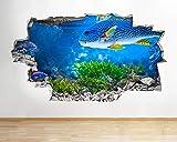 Pegatinas de pared-3D-Pegatinas de pared acuario peces océano mar coral calcomanía cartel arte vinilo habitación-50x70cm