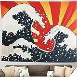 Tapiz de Pared Gran Ola Kanagawa Colgar en la Pared Tapicería Colgar Gran Oceánica Colgante de pared Naranja Arte Naturaleza para el Hogar La Sala de Estar Dormitorio Decoraciones(200x150cm)