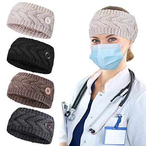 4 Stück Knopf Gestrickt Stirnbänder Winter Stirnband Ohrwärmer Häkeln Kopfwickel Weiches Geflochtenes Haarband für Frauen Mädchen