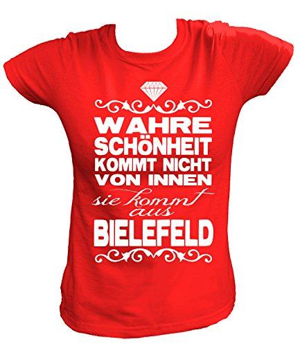 Artdiktat Damen T-Shirt - Wahre Schönheit kommt Nicht von Innen - Sie kommt aus Bielefeld Größe XS, rot