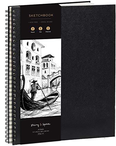 Skizzenbuch für Künstler, gebunden, DIN A3 – sehr festes Papier, 200 g/m² – großes, spiralgebundenes Skizzenbuch für Kinder und Profis für Zeichnungen und Skizzen – 29 cm x 42 cm, 40 Bögen / 80 Seiten