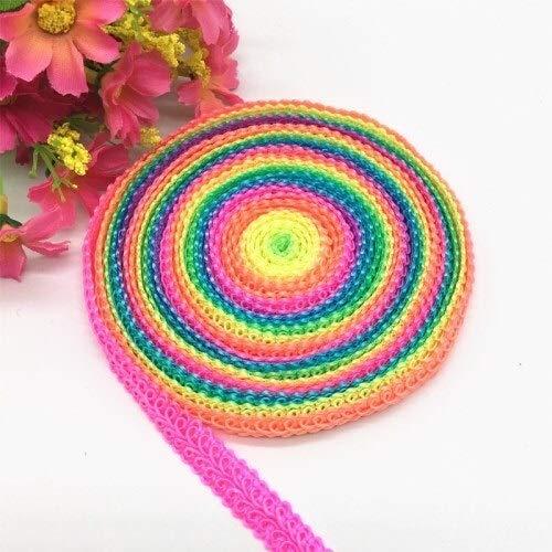 KUQIQI 10mm Multi Rainbow Color Thema Rayon-Wellen-Spitze Stoff Nähen Trim DIY Hochzeit Crafts Dekor Centipede Geflochtenes Band schnüren 5yards (Farbe : Rainbow Color)