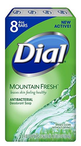 Dial Antibacterial Bar Soap, Mountain Fresh, 4 Ounce, 8 Bars
