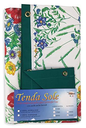 tex family Rideau Imprimé Soleil pour extérieur Jardin Fonds Blanc emballée – cm. 150 x 350