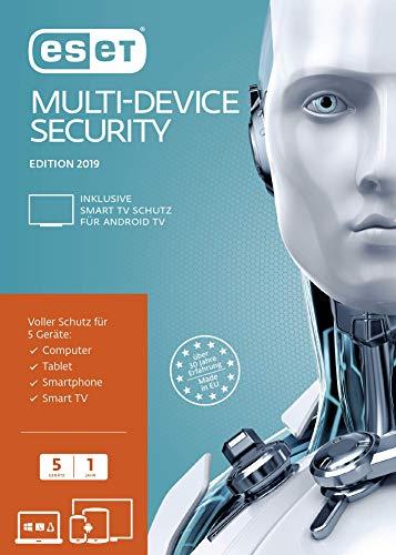 ESET Multi-Device Security 2019 | 5 User | 1 Jahr Virenschutz | Windows (10, 8, 7 und Vista), macOS, Linux und Android|Standard|5 Geräte|1 Jahr|PC/Mac/Android|Download|Download