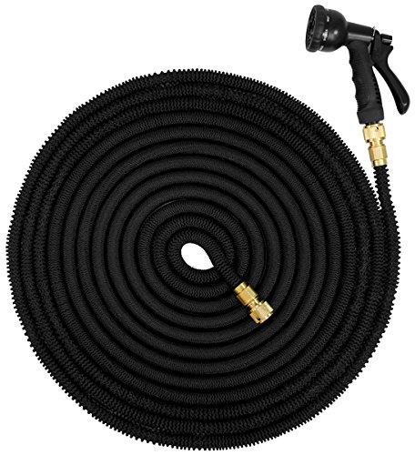 EYEPOWER Manguera de riego elástica la presión del Agua alarga su Longitud de 10m a 30m | Magic Hose + Pistola Rociadora | Conectores de latón | Negro