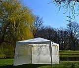 defacto® Faltpavillon 3x3m Inkl. 2 Seitenteile in BEIGE Pavillon Gartenzelt Popup Polyester - Wasserdicht Tragetasch und Befestigung Seile und Nagele UV Schutz 50+