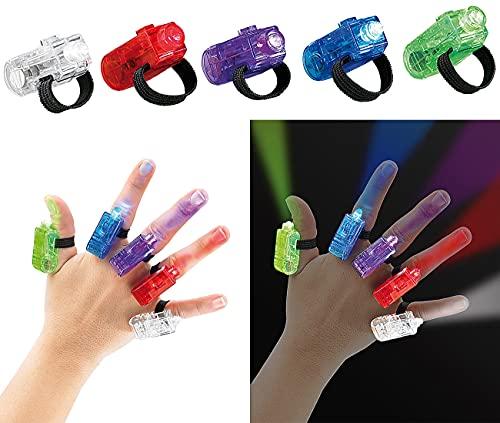 infactory Finger LED: Bunte LED-Fingerlichter im 5er-Set (Blinkender Ring)