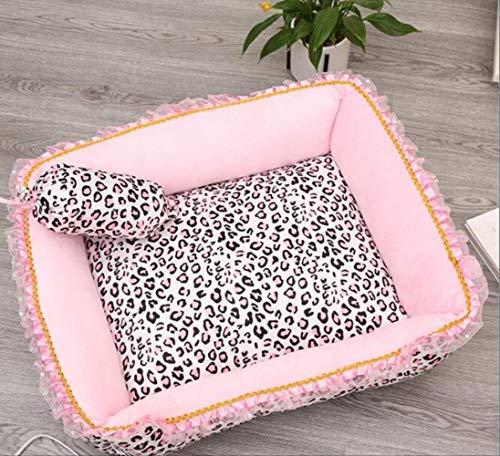 Rosa Leopard Haustier Hund Bett Schlaf Warm Hund Katze Welpen Weichen Hund Mat Herbst Winter Warm Kennel Quadrat M 50x60cm