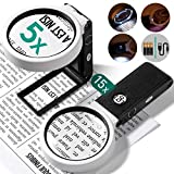 Kaome Magnifying Glass with Light 15X 5X Magnifying Glasses Standing & Handheld 6 LED Lights Magnifier for Magazine Reading, Hobbies & Craft, Inspection - with a Lens Cloth & Bag