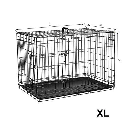 Ribelli hondentransportbox van ijzer en kunststof, gepoedercoat en inklapbaar, metalen hondenkooi in twee maten, dierenkooi met twee deuren en handgrepen, belastbaar tot 43 kg, XL 91x64x58 cm