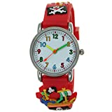 Pirate Ship Cross Sword Skull 3D Silicone Strap Round Case Japanese Quartz Kids Waterproof Clasp Rubber Band Arabic Numerial Dial Children Toddler Wristwatches Time Teacher Boys Girls Unisex Watches