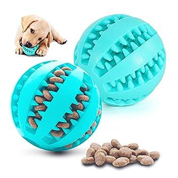 2 Jouet Chien Balles, Pet Exercice Jeu Jouet Puppy Ball, pour Nettoyer Les Dents et Les Jeux Chiot, 100% Caoutchouc Naturel Jouet Balle pour Petit Moyen Chien (Bleu)