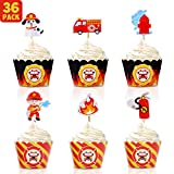 Bessmoso 36 Pack Fire Truck Cupcake Toppers & Adjustable Cupcake Wrappers Perfect for Baby Shower or Firefighter Fireman Fire Truck Theme Birthday Party Decorations Supplies
