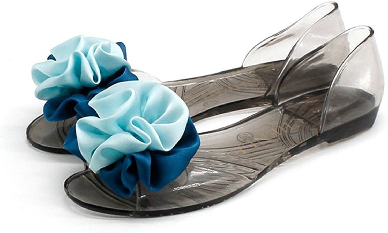 Btrada Womens Jelly Sandals Durable PVC Slides Bicolor Flowers Peep Toe Transparent shoes Beach Flats