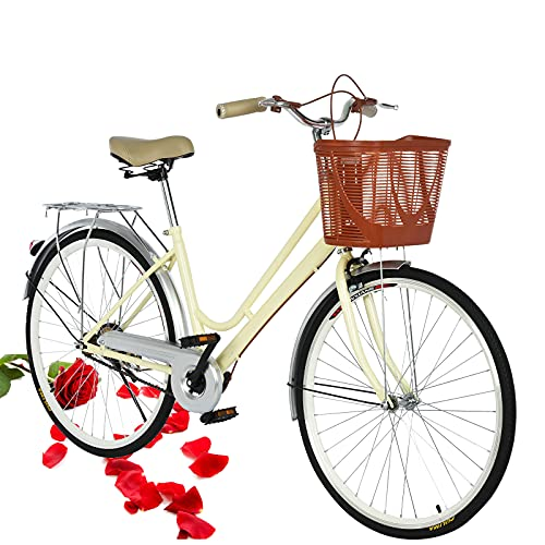 Beach Cruiser Bike for Women 26 Inch Classic Retro Bicycle Road Bikes Single Speed Comfortable Bicycle Commuter Bicycle High-Carbon Steel Frame, Front Basket, Rear Racks (Yellow)