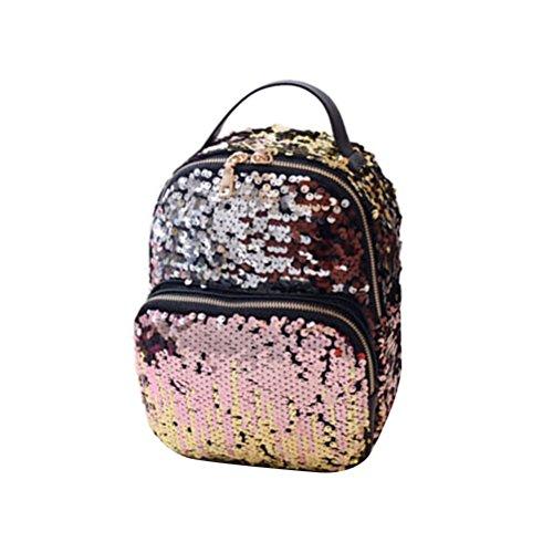 BESTOYARD Pailletten Rucksack, Mode PU Leder Sequin Daypack klein Schultertasche für Frauen Mädchen Schule Reise (Rosa)