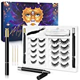 (10 Pairs) Magic False Eyelashes and Eyeliner Kit, 5D Eyelashes No Glue No Magnetic Eyelashes, Falscara Eyelash Starter Kit with 2 Liquid Eyeliners Waterproof and Tweezers