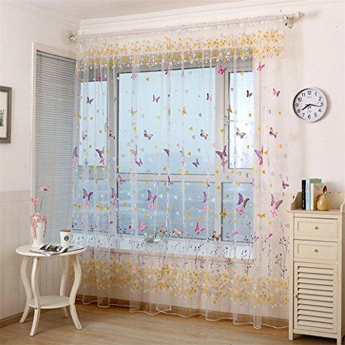 Bodhi2000 ® 1pièce Voile Motif Papillon Rideau de fenêtre 199,9 x 100,1 cm, Rose Vif, Taille Unique