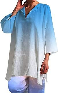 Fitfulvan Women's Gradient Color Seven-Quarter Sleeve Tops V-Neck Side Spilt Casual Loose Blouses T-Shirt