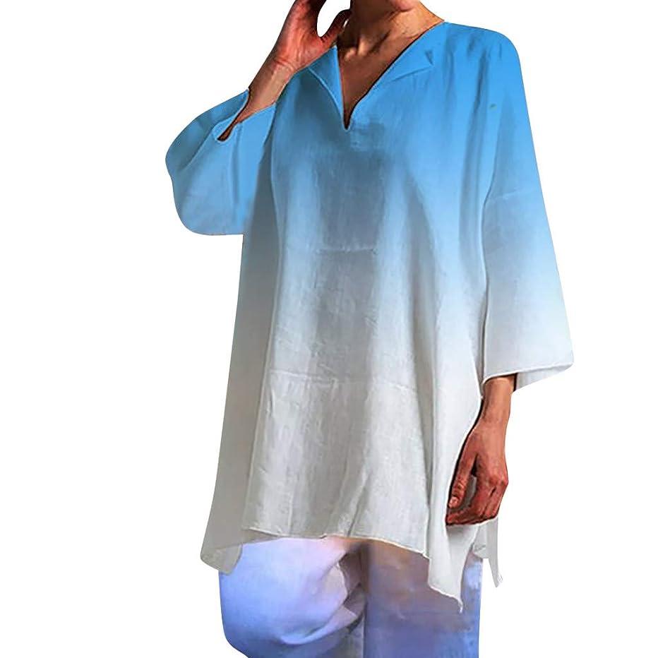 Women Gradient Tunics,JKioleg Short Sleeve V Neck Casual Tops T-Shirt Loose Top Blouse