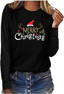 Women Christmas Long Sleeve Tops, Ladies Xmas Letter Printed T-shirt Blouse Top
