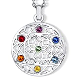 Crystalp Chakra Flower - Collana con cristalli Swarovski® e Placcato rodio, colore: multicolore, cod. 30091.MLT.R_FBA