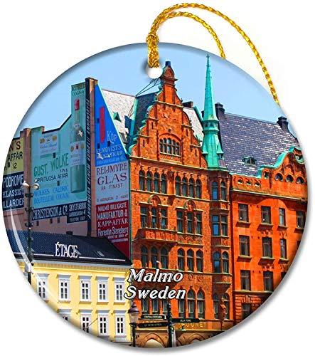 Sweden Little Square Malmo Ornaments 2,8 tums keramisk rund semesterprydnad Pandent för familjevänner