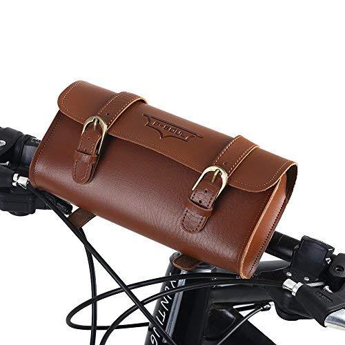Tbest Bolsa de Bicicleta Ciclismo Alforja Bolsa Cuero Marron Impermeable,Estilo Retro de la Bicicleta de Cuero Artificial del Marco Delantero del Bolso de la Bici Accesorio de Ciclismo