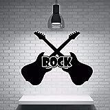 Tianpengyuanshuai Vinilo Rock Guitarra Instrumento Musical Etiqueta de la Pared Estudio de música Arte de la Pared Mural Músico Diseño Decoración 42X32cm