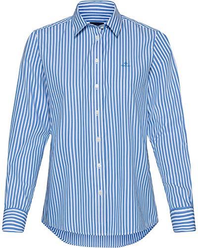 GANT Damen The Broadcloth Striped Shirt Bluse, Pacific Blue, 40
