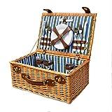 Tylyund Cesta de picnic Cesta de mimbre Cesta de mimbre Camping Picnic Basket está demandando Willow Picnic Cestas de verificación de Picnic Basket Set para 4 personas Picnic Party